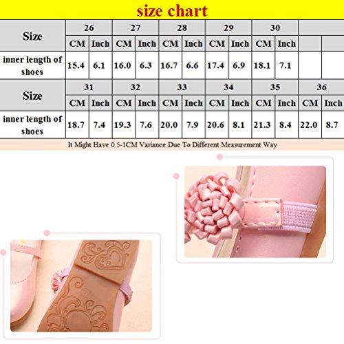 Zhhlinyuan Sweet Girls Princess Shoes Fashion Kids Non-slip Shoes 4 Colors D888 pink