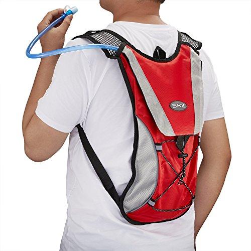 Hydration Rucksack Trinkrucksack Mit 2L Trinkblase Hydration Pack Trinksystem Backpack für Joggen, Wandern, Radfahren, Camping und Bergsteigen Rot