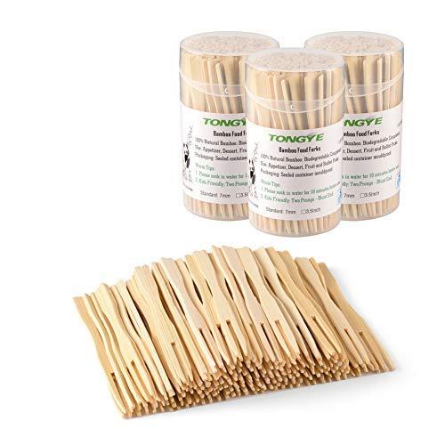 Mini-Gabeln und Göffel aus Bambus/Holz Herz Forks Natrual -