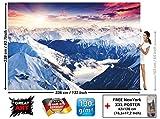 GREAT ART Foto Mural Panorama de los Alpes- Decoración Invierno Puesta de sol Tapiz Paisaje Montañas Nieve (336x238cm)