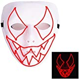 AnseeDirect Maschera Spaventosa Mask LED Halloween Glowing Maschera Diavolo per Festival del Costume Party Cosplay DJ