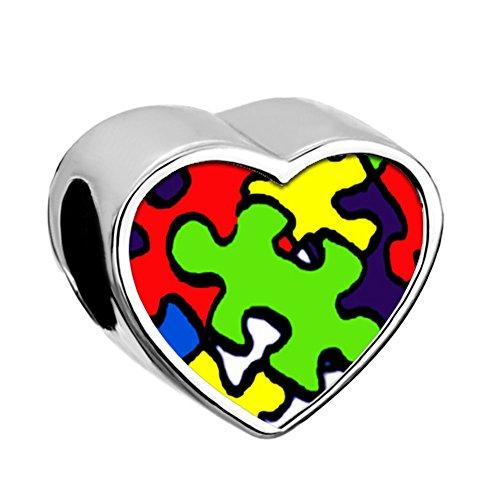 Uniqueen love autism awareness - ciondolo per braccialetti con puzzle e rame, cod. dpc_fa66