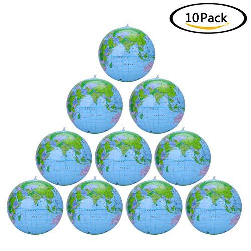 WeishenG Pragmatic 12 Inch PVC Aufblasbar Globus Aufblasbar Welt Globus Strand Ball Globus für Strand Spiel oder Bildungs Beibringen - 10 Packung (12-zoll-strand-ball)