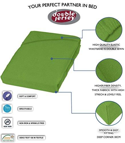 Double Jersey - Spannbettlaken 100% Baumwolle Jersey-Stretch bettlaken, Ultra Weich und Bügelfrei mit bis zu 30cm Stehghöhe, 160x200x30 Grün - 3
