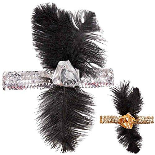 Amakando 20er Jahre Haarband Charleston Stirnband Silber-schwarz Feder Haarschmuck Gatsby Flapper Kopfband Gangster Kopfschmuck Mafia Mottoparty Accessoire Karneval Kostüme Damen - Silber Gangster Kostüm