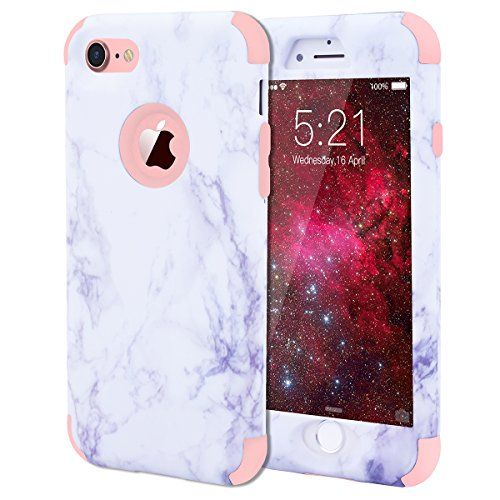 """WE LOVE CASE iPhone 7 / iPhone 8 Hülle Marmor 360-Grad All-inclusive Split Full Protection Anti-Drop iPhone 7 / iPhone 8 4,7"""" Hülle Rose Gold Schutzhülle Handyhülle Handytasche Handycover PC Harte und Rose gold"""