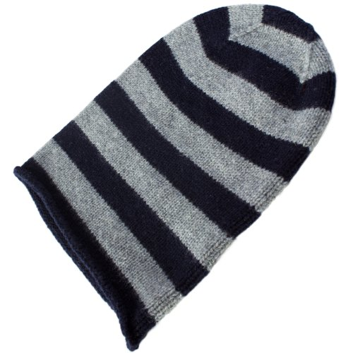 ladies-100-cashmere-striped-beanie-hat-6-ply-cashmere-colour-navy-light-grey-hand-made-in-scotland-b