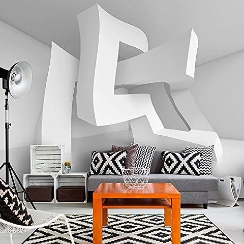 Vlies Fototapete 350x245 cm ! Top - Tapete - Wandbilder XXL - Wandbild - Bild - Fototapeten - Tapeten - Wandtapete - Wand - weiß 3D Abstrakt optisch