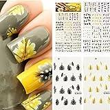 MaltonYO17- Adesivi per decorazione unghie, motivo piume di pavone, colorati, 1 pezzo
