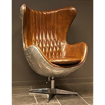 echtleder vintage alu sessel retro ledersessel braun drehsessel schwingsessel design lounge. Black Bedroom Furniture Sets. Home Design Ideas