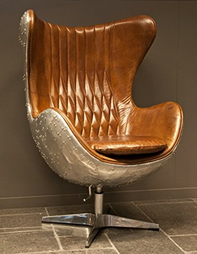Casa Padrino Art Deco Egg Chair Drehstuhl Sessel Aluminium/Echt Leder Braun - Club Sessel - Lounge Sessel - Vintage Airplane Möbel