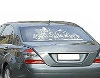 Autoaufkleber Zwillinge am Fenster B x H: 35cm x 15cm Farbe: weiß von Klebefieber®