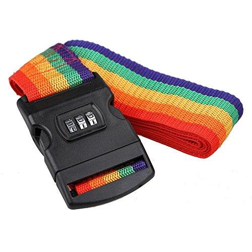 Einstellbar Koffergurt Verstellbare Kofferband Regenbogen Gepäckgurte ,Gepäckband mit Zahlenschloss Kofferband Gurt für 18-29 Koffer oder Andere Gepäcke Travel Accessorie (Regenbogen)
