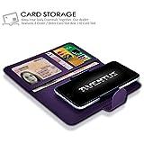 Aventus Cubot H1 Dark Purple Premium-PU-Leder Universal Hülle Spring Clamp-Mappen-Kasten mit Kamera Slide, Karten-Slot-Halter und Banknoten Taschen
