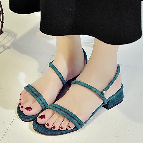 RUGAI-UE Donne Ferret Estate sandali scarpe cinghia spessa scarpe alla moda Green
