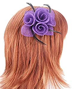 Purple Sinamay Flower & Leaves Hair Fascinator with Black Feathers finished on a sprung clip