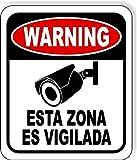 PotteLove Spanisches Warnschild für Videoüberwachung, Sicherheitskamera aus Metall, langlebig, 30,5 x 45,7 cm