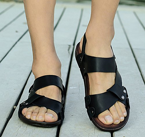 Icegrey Hommes Sandales Cuir Chaussons Antiderapant Tongs de plage Noir