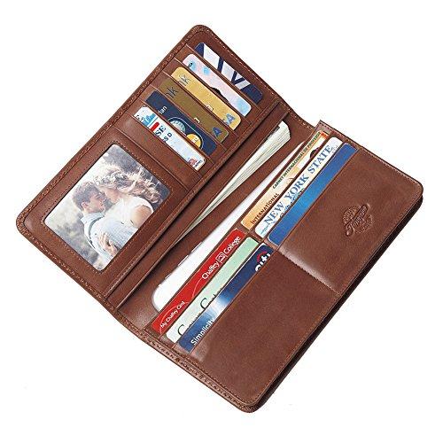 TEEMZONE Geldbörse Herren Leder Lange Portemonnaie Männer Alte Rot Smartphone Portmonee Karten Organizer The Mechanical Age(Reisegeldbörse) Klapp-Geldbörse