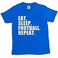 Fancy A Snuggle Eat. Sleep. Football. Repeat. Footy Kids Boys / Girls T-Shirt Royal Blue 7-8 Year Old