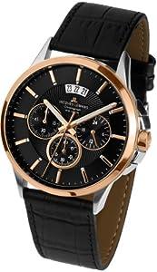 JACQUES LEMANS Sydney 1-1542C - Reloj de caballero de cuarzo, correa de piel color negro de JACQUES LEMANS