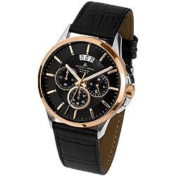 Jacques Lemans Sydney 1-1542C Men's Chronograph Black Leather Strap Watch