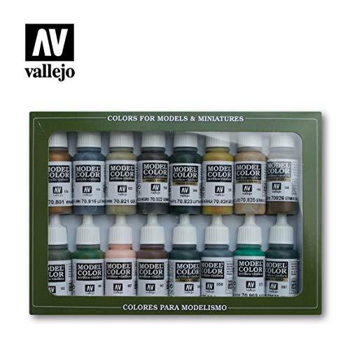 Vallejo Model Color guerra militare tedesca-Set pittura acrilica, colori assortiti (confezione da 16)