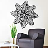 WWYJN Vinyl Wall Applique Mandala Indian Pattern Yoga Logo Yoga Home Wall Decal Decoration Artist Home Decoration Vinyl Sticker Gray 42x42cm