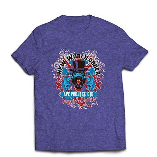lepni.me Männer T-Shirt Neue Weltordnung - politischer Widerstand, Protestkleidung (X-Large Heidekraut Blau Mehrfarben)