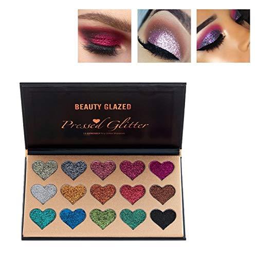 Beauty Glazed Professional Herz Makeup Palette 15 Farben Glitzer Powder Langlebig & Schimmer Lidschatten Palette - Augen Makeup Glitter Hoch Pigmentiert Mineral Pressed Glitter