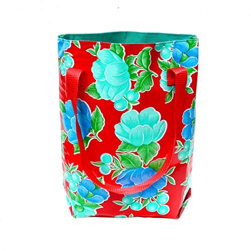 IKURI Einkauftasche - Wasserdicht Shopper für Frauen Beutel Einkaufsbeutel Badetasche Tote Bag aus Wachstuch - Design Capullo