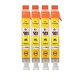 Go Inks C-551Y Cartouches d'encre Jaune Compatible pour remplacer Canon CLI-551Y pour une utilisation avec les imprimantes Canon PIXMA (Lot de 4)