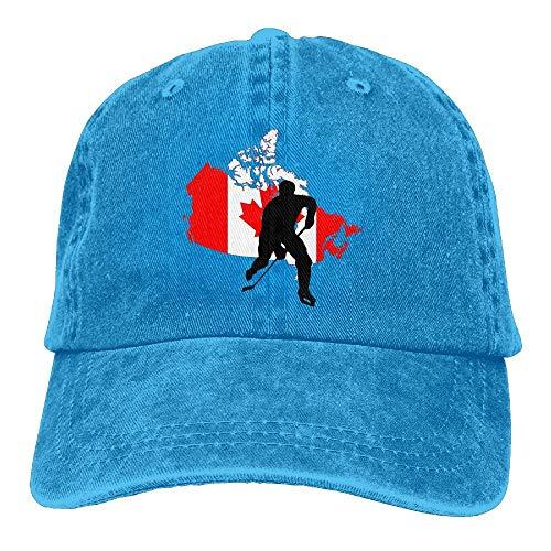 Sdltkhy Erwachsene Kanada Flagge Karte Hockey Spieler gewaschen Denim Baumwolle Baseball Cap Papa Hut einstellbar Marine Multicolor63
