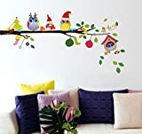 Decals Design 'Merry Christmas Winter Owls' Wall Sticker (PVC Vinyl, 70 cm x 25 cm)