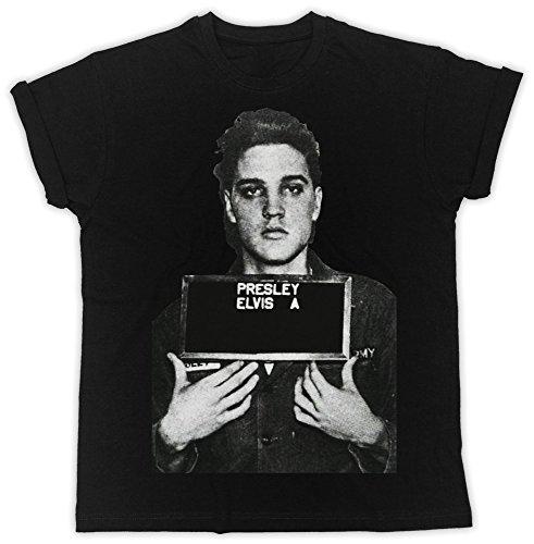 Mugshot Elvis T-shirt (Uk print king Elvis Presley Mugshot Cooler Spruch, Slogan, Lustiges Design, Geschenkidee)