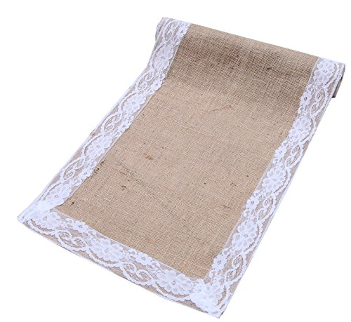 Linen Clubs Pack of 2, Natural Jute Burlap Table Runner with Lace Decoration 12 x120Inches by Perfect Accessory to Dress up Dinner Table with 100% Bio-degradable & Recyclable, Environment Friendly 120 Roll Pack