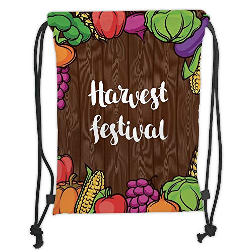 ZKHTO Drawstring Sack Backpacks Bags,Harvest,Cartoon Style Colorful Food Frame Traditional Harvest Festival Calligraphy,Brown Multicolor Soft Satin,5 Liter Capacity,Adjustable String Closure,