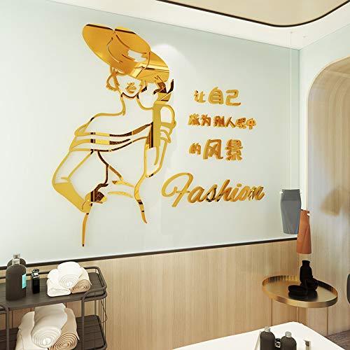 Nail Studio Wandaufkleber Beauty Salon Hintergrund Wandaufkleber 3D Stereo Acryl Damen Bekleidungsgeschäft Dekoration Gold Spiegel klein 800x726mm -