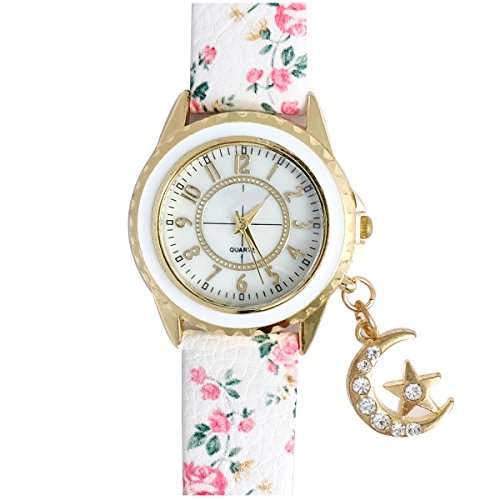 Super Drool ST2455_WT_MOONSTAR_3 Moon Star Charm Analog Watch For Girls