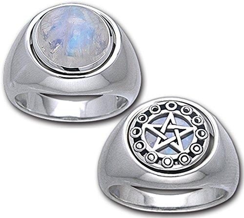 Alterras - Ring: Wende-Ring Pentagramm-Mondstein aus 925-Silber (Ring-Größe: Ringr. 62 (ø19,7mm; US:#10)) Mondstein Ring Größe 10
