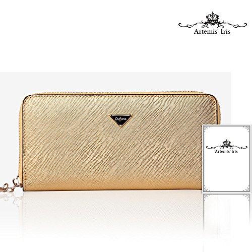 Artemis'Iris Womens grande capacità Zipper il portafoglio in vera pelle con il supporto del telefono carte dell'organizzatore della frizione lungo della borsa, il nero gold