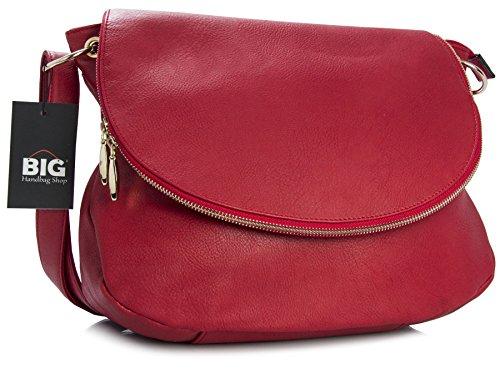 Big Handbag Shop - Borsa a tracolla donna (Red (LL298))