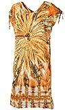 Guru-Shop Langes Kurzarm Batikkleid, Maxikleid, Strandkleid, Sommerkleid in Übergröße, Damen, Orange/blau, Synthetisch, Size:One Size, Lange & Midi Kleider Alternative Bekleidung