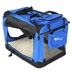 Amzdeal Hundebox Katzentransportbox, Faltbare Transportbox katzen und Hunde, Klappbare Autobox Hundetransportbox, Reisebox mit Weicher Decke und Seitlichem Einstieg, 60 x 42 x 42cm, blau