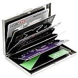 H&S Credit Card Holder Wallet Metal Protector RFID Blocking Bank Card Wallet Business Card Holder Case for Ladies Women Men Stainless Steel