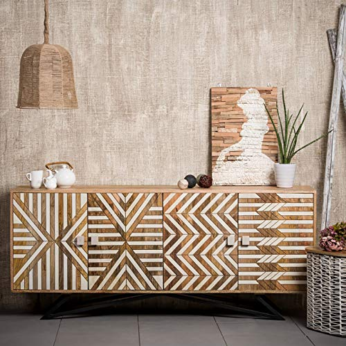 Native Home Sideboard Holz, mit Muster, modern, massiv, mit Türen, Mangoholz, Kommode, HxBxT: 75 x 177 x 45 cm, braun