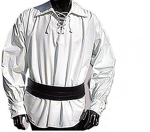 Ranch Western Shirt (Piratenhemd Gothikhemd Weiß mit weitem Kragen in S - 3XL (Xl))