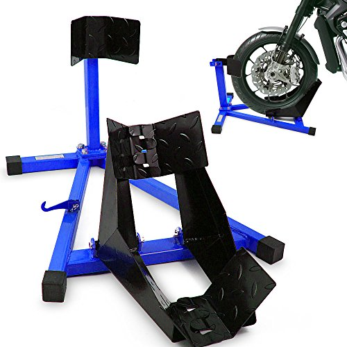 BITUXX Motorrad Montageständer Motorradwippe vorn Motorradständer Wippe Transportständer Vorderrad Blau