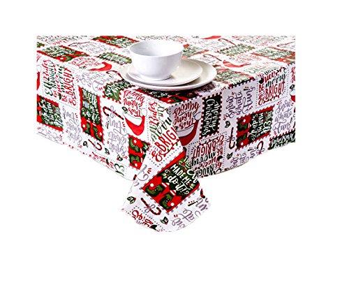 Elf Thema Typografie Vinyl Tischdecke Weihnachten Urlaub Design mit Flanell Rückseite, Vinyl, Red, Green, White, Gray, Grey, 52 x 52 Square