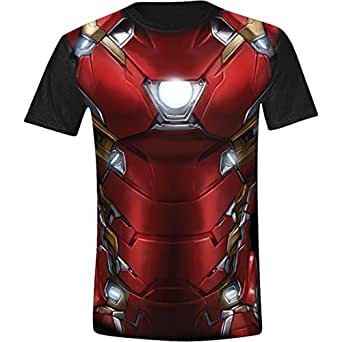 Captain america civil war iron man costume full printed for Full size t shirt printing